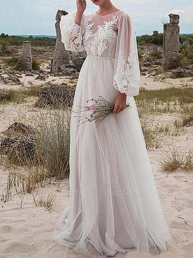 A-Line Wedding Dresses Jewel Neck Floor Length Tulle Long Sleeve Romantic Beach Boho See-Through Illusion Sleeve