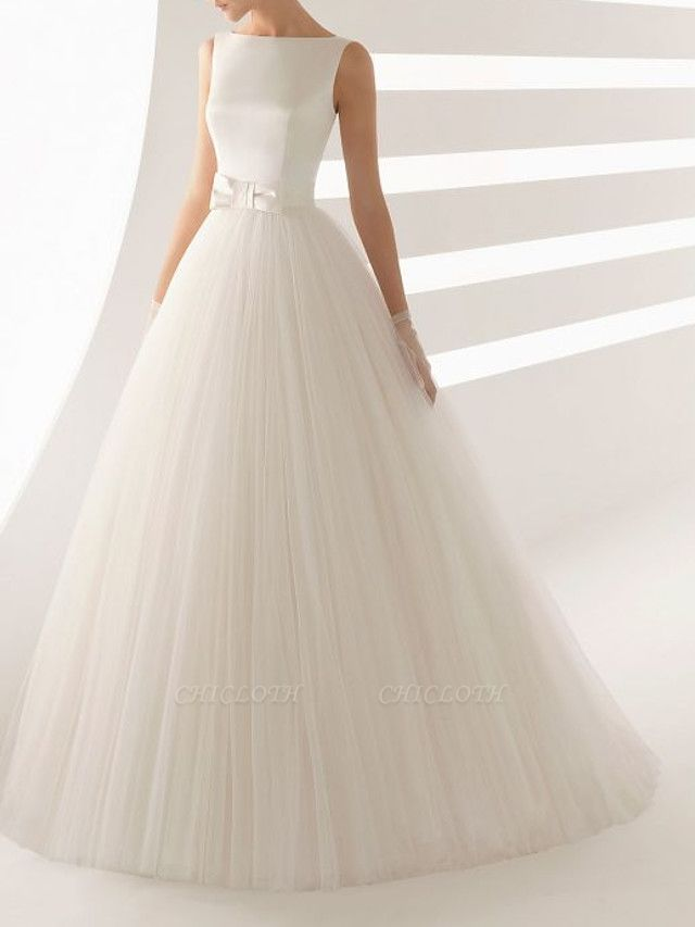 Ball Gown Wedding Dresses Bateau Neck Sweep \ Brush Train Satin Tulle Regular Straps Simple Backless