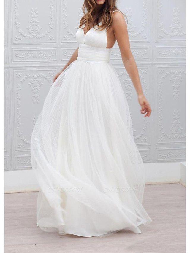 A-Line Wedding Dresses Spaghetti Strap Plunging Neck Floor Length Taffeta Tulle Chiffon Over Satin Sleeveless Country Plus Size