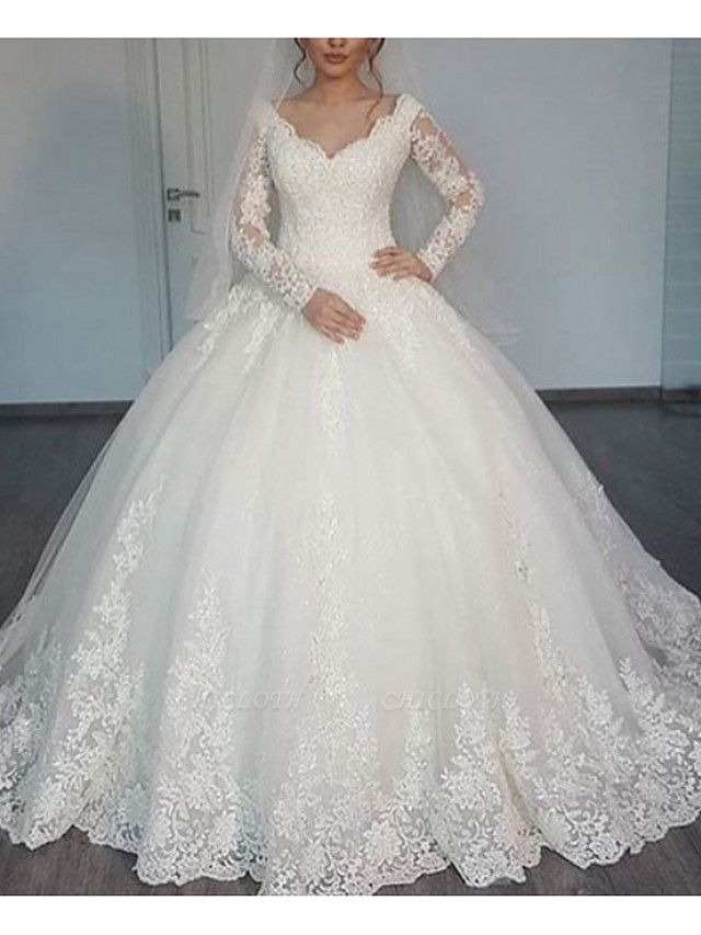 A-Line Wedding Dresses V Neck Sweep \ Brush Train Lace Long Sleeve Illusion Sleeve