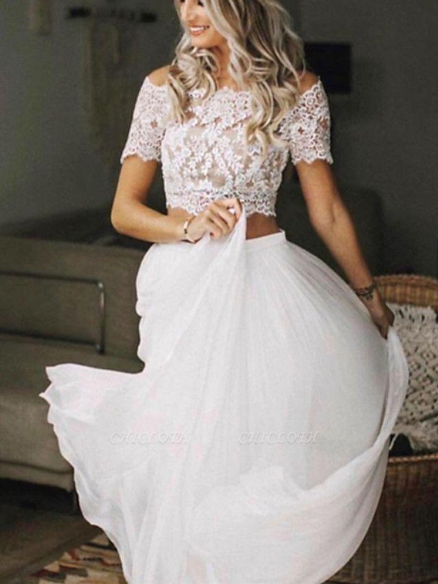 Two Piece Wedding Dresses Jewel Neck Sweep \ Brush Train Chiffon Lace Short Sleeve Beach Boho Sexy See-Through