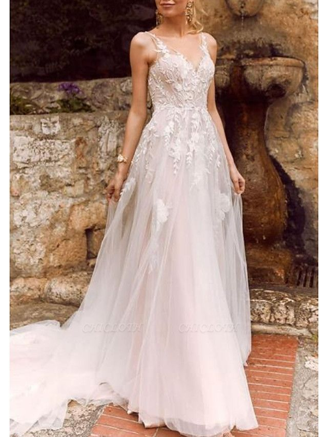 A-Line Wedding Dresses V Neck Court Train Chiffon Tulle Spaghetti Strap Illusion Detail