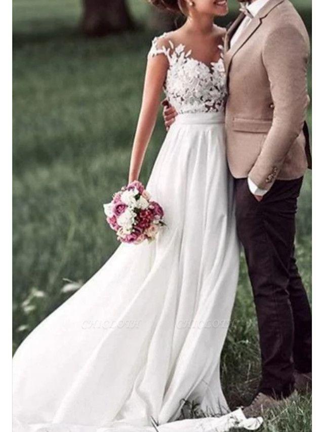 A-Line Wedding Dresses Off Shoulder Sweep \ Brush Train Chiffon Lace Regular Straps Boho