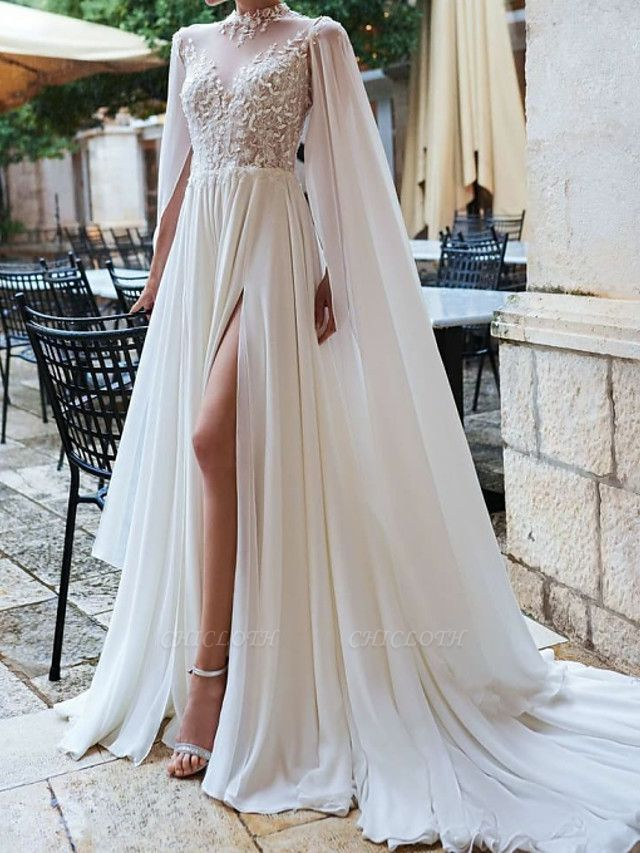 A-Line Wedding Dresses High Neck Court Train Detachable Chiffon Lace Long Sleeve Sexy See-Through