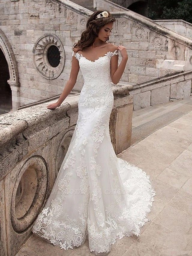 Mermaid \ Trumpet Wedding Dresses Off Shoulder Court Train Lace Tulle Lace Over Satin Short Sleeve Illusion Detail Backless