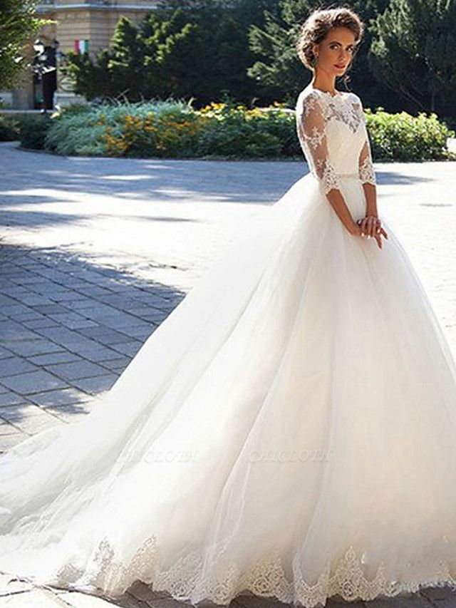A-Line Wedding Dresses Off Shoulder Court Train Lace Tulle 3\4 Length Sleeve Formal Sexy Illusion Sleeve