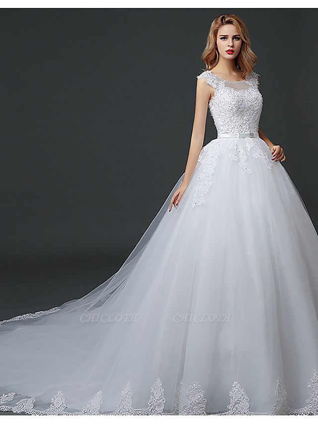 Ball Gown Wedding Dresses Scoop Neck Court Train Lace Tulle Polyester Short Sleeve Romantic