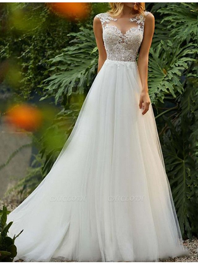 A-Line Wedding Dresses Jewel Neck Sweep \ Brush Train Tulle Regular Straps Romantic Boho Backless