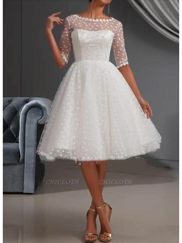 A-Line Wedding Dresses Jewel Neck Knee Length Lace Tulle Short Sleeve Casual Vintage See-Through Cute Illusion Sleeve