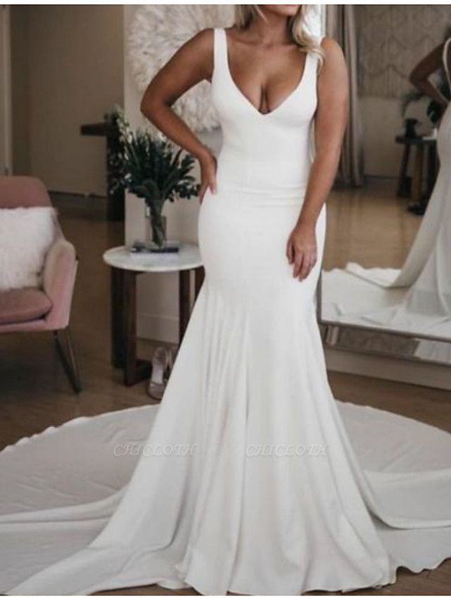 Mermaid \ Trumpet Wedding Dresses Plunging Neck Court Train Stretch Satin Sleeveless Sexy Plus Size