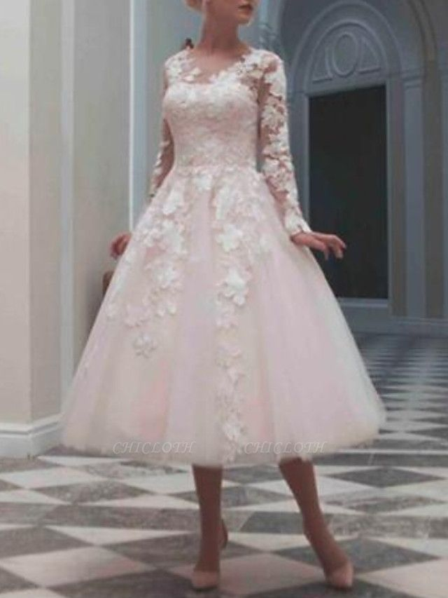 Ball Gown Wedding Dresses Jewel Neck Tea Length Lace Tulle Long Sleeve Casual Vintage Little White Dress See-Through Cute