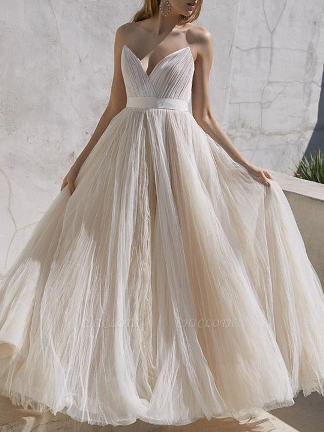 A-Line Wedding Dresses Sweetheart Neckline Sweep \ Brush Train Tulle Strapless Plus Size