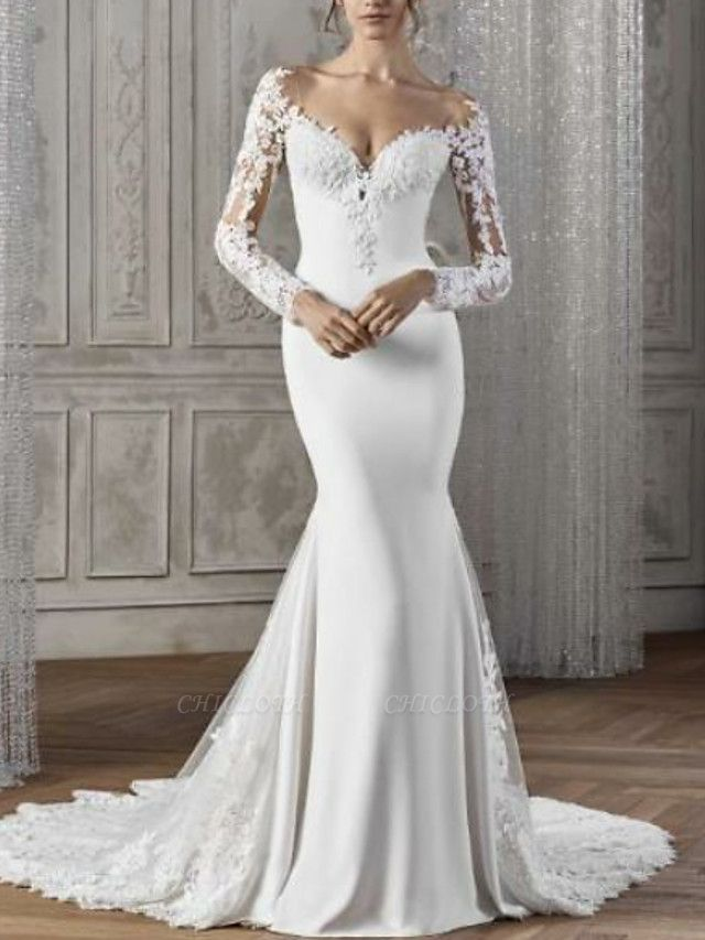 Mermaid \ Trumpet Wedding Dresses V Neck Court Train Lace Satin Long Sleeve Sexy Backless Illusion Sleeve