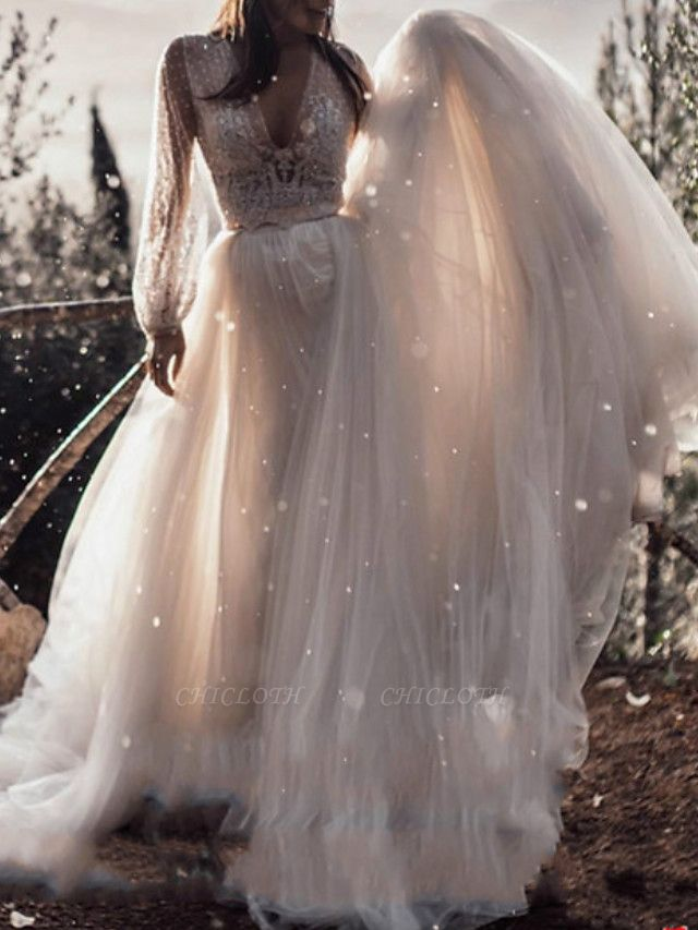 A-Line Wedding Dresses V Neck Sweep \ Brush Train Lace Tulle Long Sleeve Boho Sexy See-Through