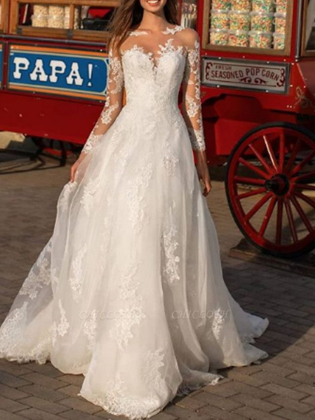 A-Line Wedding Dresses Jewel Neck Floor Length Polyester Long Sleeve Formal Boho Plus Size Illusion Sleeve