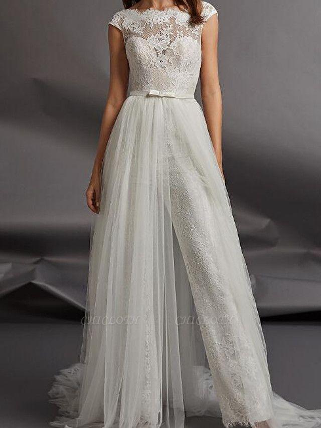 Jumpsuits Wedding Dresses Jewel Neck Floor Length Detachable Lace Tulle Cap Sleeve Country Plus Size
