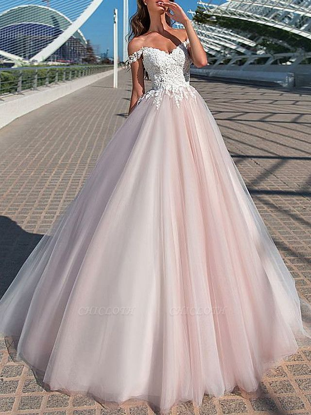 A-Line Wedding Dresses Off Shoulder Court Train Tulle Short Sleeve Romantic Illusion Detail