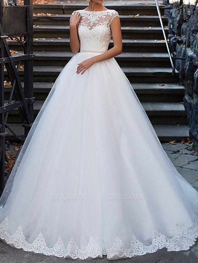 A-Line Wedding Dresses Bateau Neck Sweep \ Brush Train Lace Cap Sleeve Glamorous Vintage Illusion Detail Backless