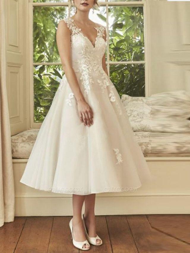 A-Line Wedding Dresses V Neck Midi Lace Tulle Regular Straps Formal Casual Vintage Illusion Detail Backless