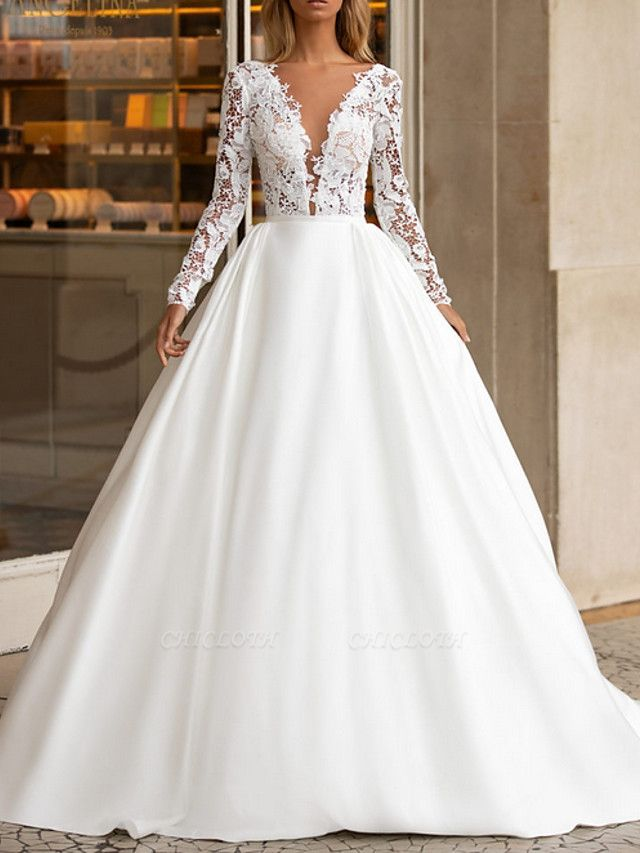 A-Line Wedding Dresses V Neck Sweep \ Brush Train Lace Satin Long Sleeve Plus Size