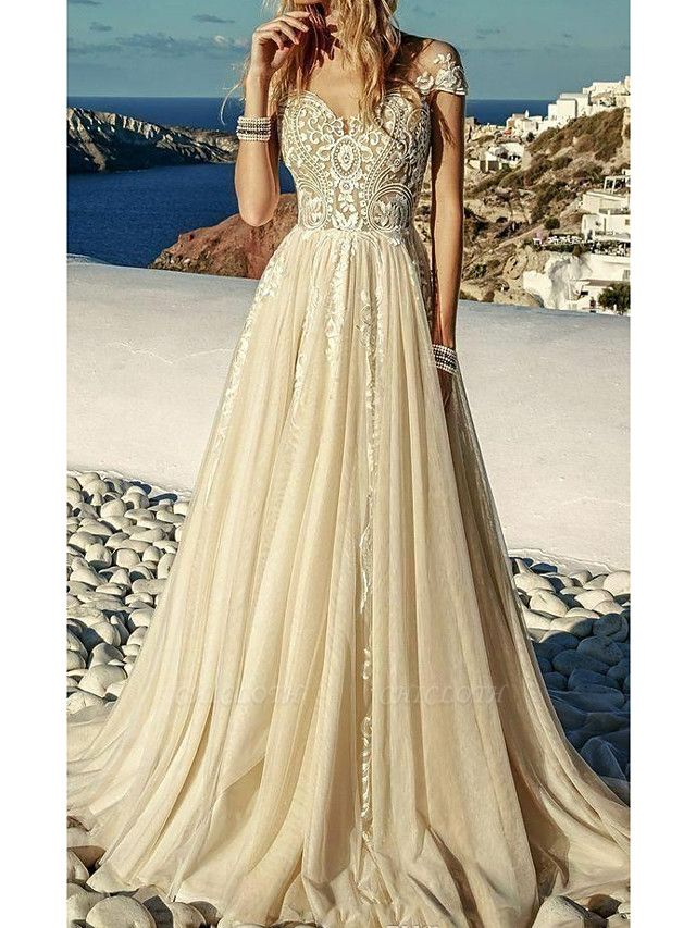 A-Line Sweetheart Neckline Sweep \ Brush Train Polyester Short Sleeve Country Plus Size Wedding Dresses