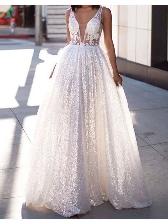 A-Line Wedding Dresses Scoop Neck Sweep \ Brush Train Lace Tulle Sleeveless Beach Sexy See-Through