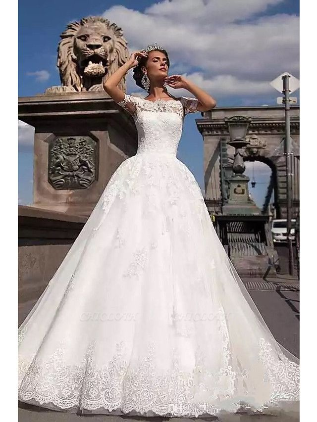 Ball Gown A-Line Wedding Dresses Off Shoulder Court Train Lace Tulle Lace Over Satin Short Sleeve Country Illusion Detail Backless