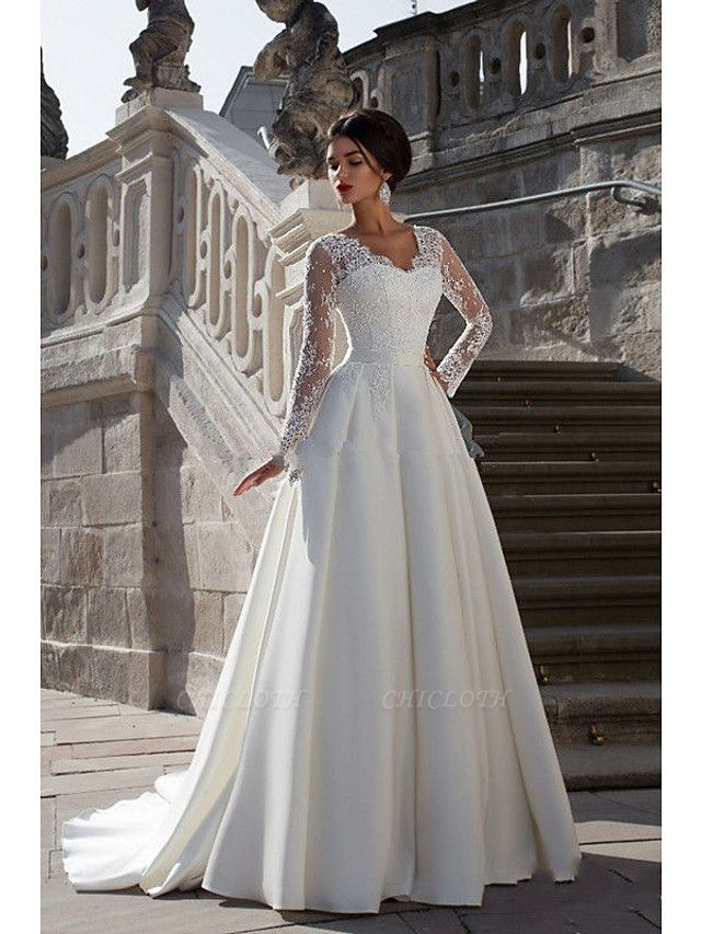 A-Line Wedding Dresses Strapless Court Train Lace Satin Long Sleeve Formal