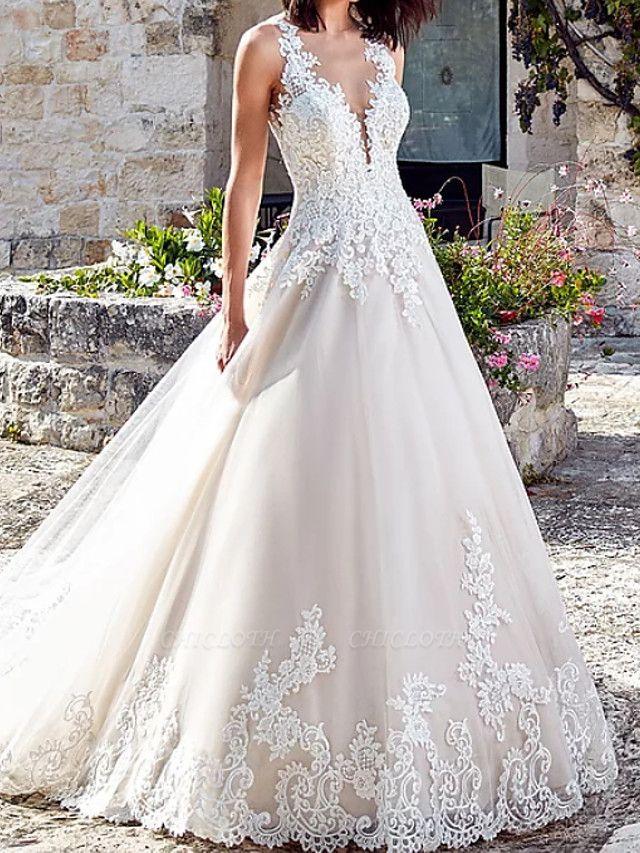A-Line Wedding Dresses V Neck Court Train Lace Tulle Regular Straps