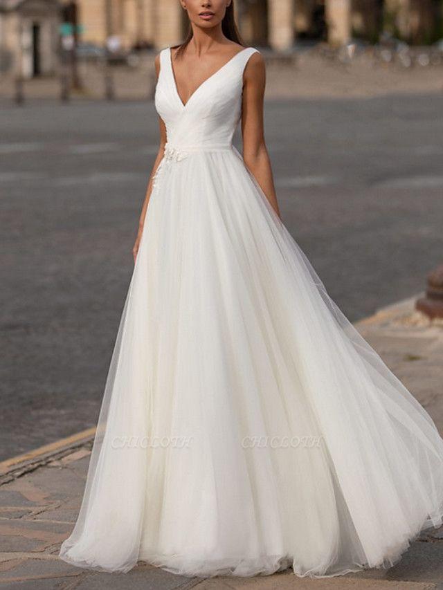 A-Line Wedding Dresses V Neck Floor Length Tulle Regular Straps Plus Size