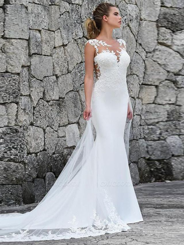 Mermaid \ Trumpet Off Shoulder Court Train Lace Satin Tulle Sleeveless Sexy See-Through Wedding Dresses