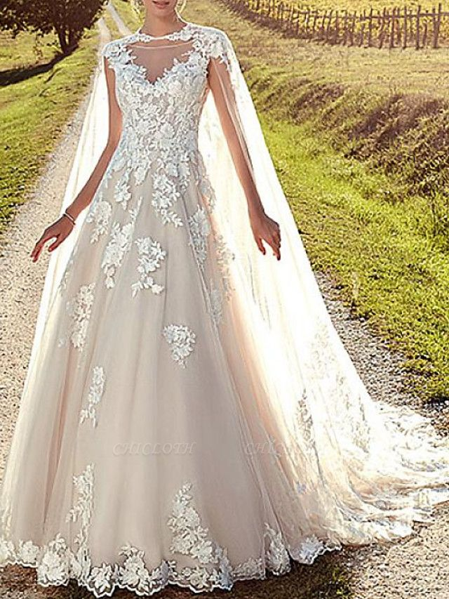 A-Line Wedding Dresses Jewel Neck Sweep \ Brush Train Lace Tulle Cap Sleeve Formal Sexy Backless Cape