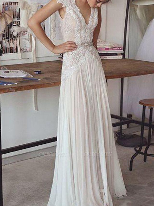 Sheath \ Column Wedding Dresses V Neck Sweep \ Brush Train Chiffon Lace Sleeveless Beach