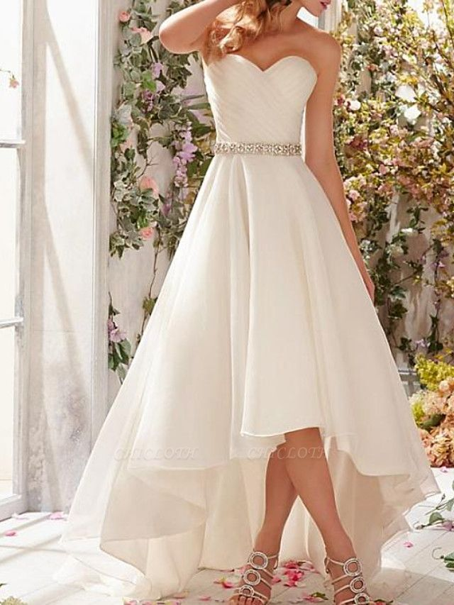 A-Line Wedding Dresses Strapless Sweep \ Brush Train Asymmetrical Organza Sleeveless Simple Vintage 1950s