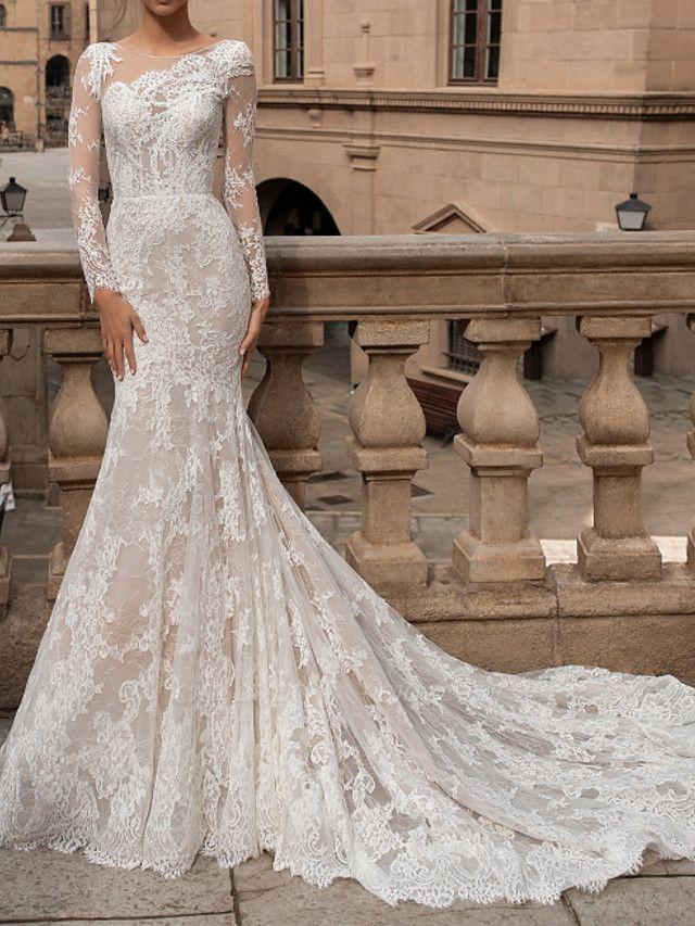Mermaid \ Trumpet Bateau Neck Sweep \ Brush Train Lace Long Sleeve Romantic Boho Sexy Backless Illusion Sleeve Wedding Dresses