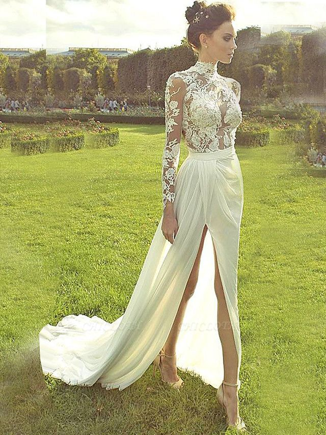 A-Line Wedding Dresses High Neck Court Train Lace Polyester Long Sleeve Country Illusion Sleeve