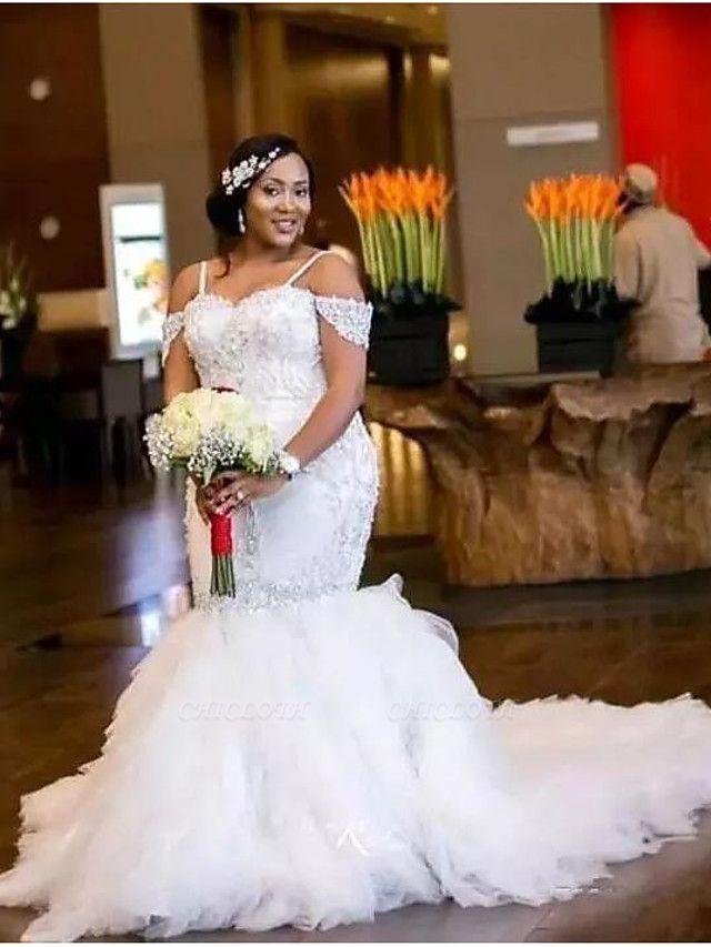 Mermaid \ Trumpet Wedding Dresses Spaghetti Strap Court Train Organza Sleeveless Sexy Wedding Dress in Color