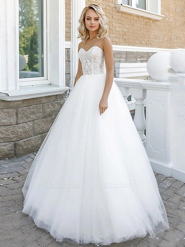 A-Line Wedding Dresses Strapless Floor Length Lace Tulle Strapless Sexy Plus Size