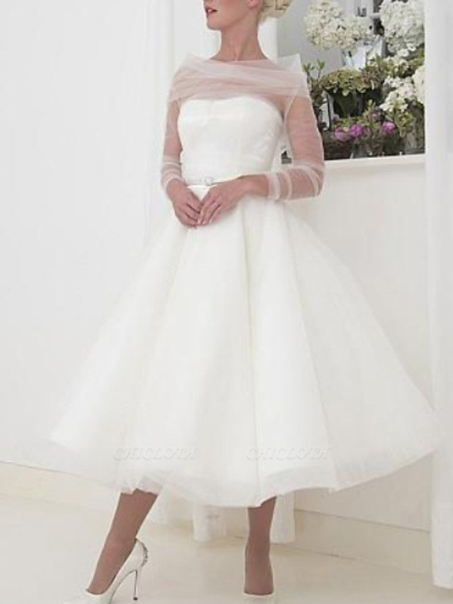 A-Line Wedding Dresses Bateau Neck Tea Length Tulle Long Sleeve Vintage Little White Dress 1950s