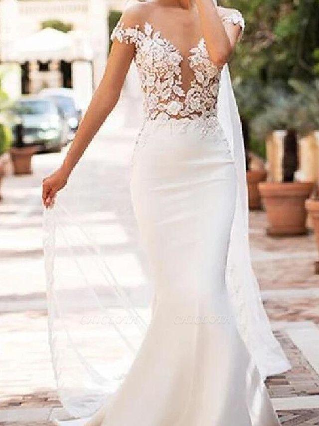 Mermaid \ Trumpet Jewel Neck Court Train Lace Satin Cap Sleeve Sexy See-Through Wedding Dresses
