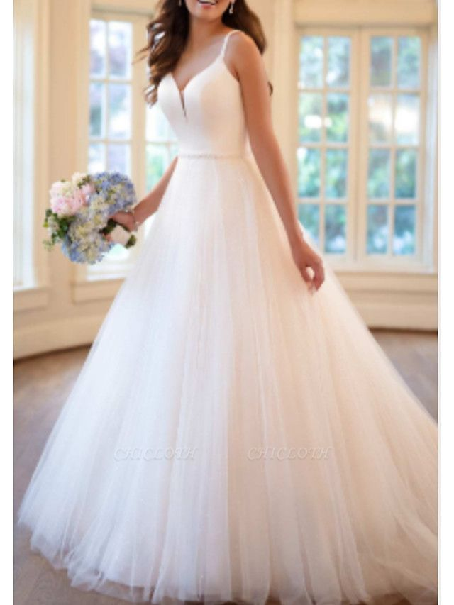A-Line Wedding Dresses V Neck Sweep \ Brush Train Tulle Charmeuse Spaghetti Strap