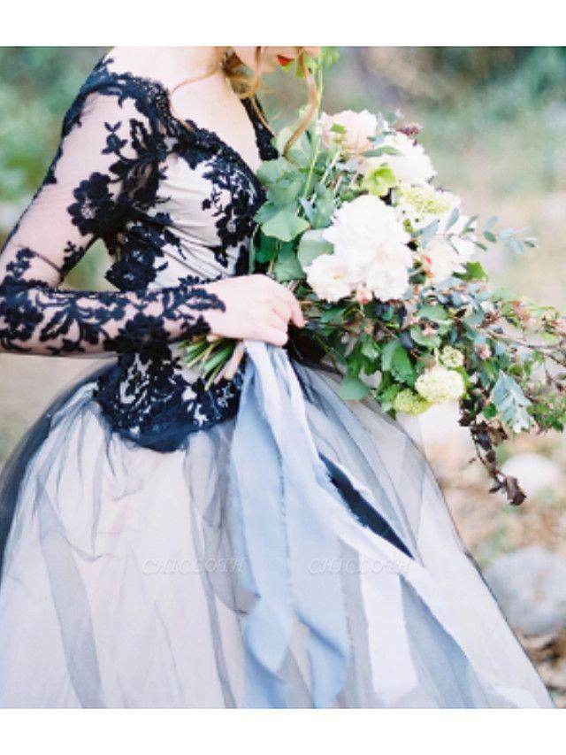 Ball Gown Wedding Dresses V Neck Sweep \ Brush Train Polyester Long Sleeve Formal Plus Size Black Modern
