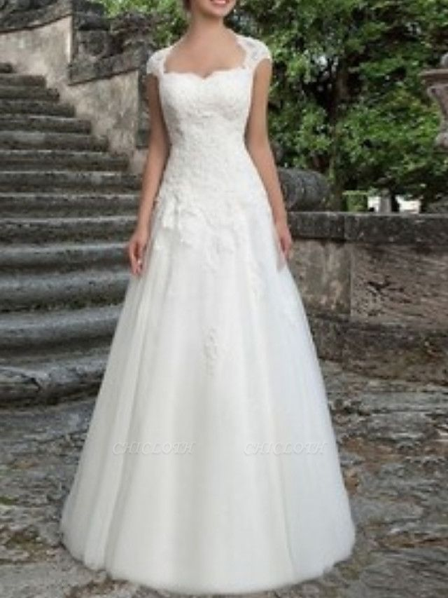 A-Line Wedding Dresses V Neck Sweep \ Brush Train Tulle Cap Sleeve Vintage Illusion Detail