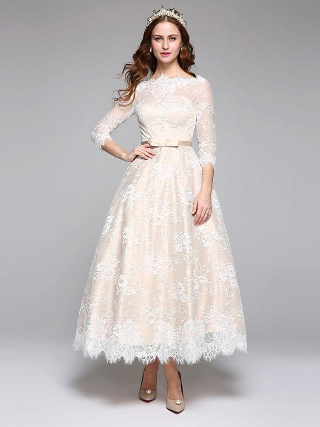 A-Line Wedding Dresses Bateau Neck Ankle Length Lace Over Satin 3\4 Length Sleeve Casual Boho See-Through Cute Illusion Sleeve