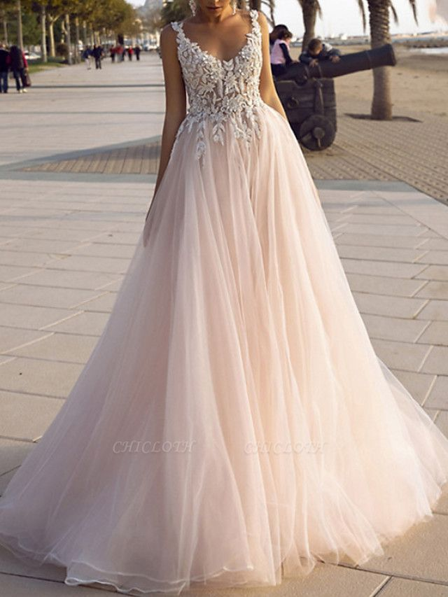 A-Line Wedding Dresses V Neck Spaghetti Strap Sweep \ Brush Train Lace Tulle Sleeveless Beach Sexy Backless