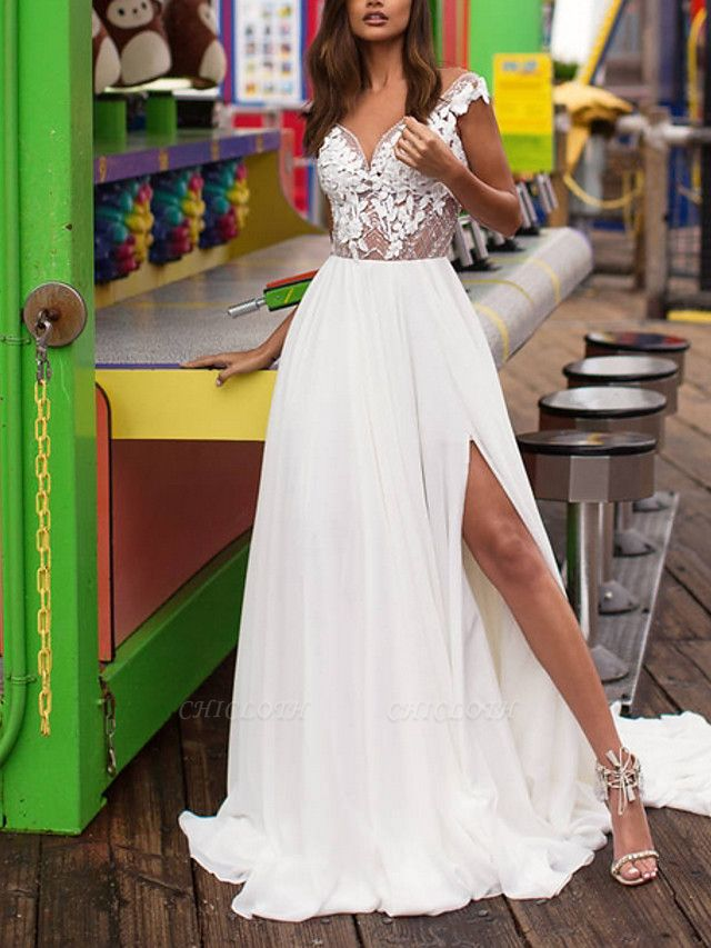 A-Line Wedding Dresses V Neck Sweep \ Brush Train Lace Satin Cap Sleeve Boho Plus Size