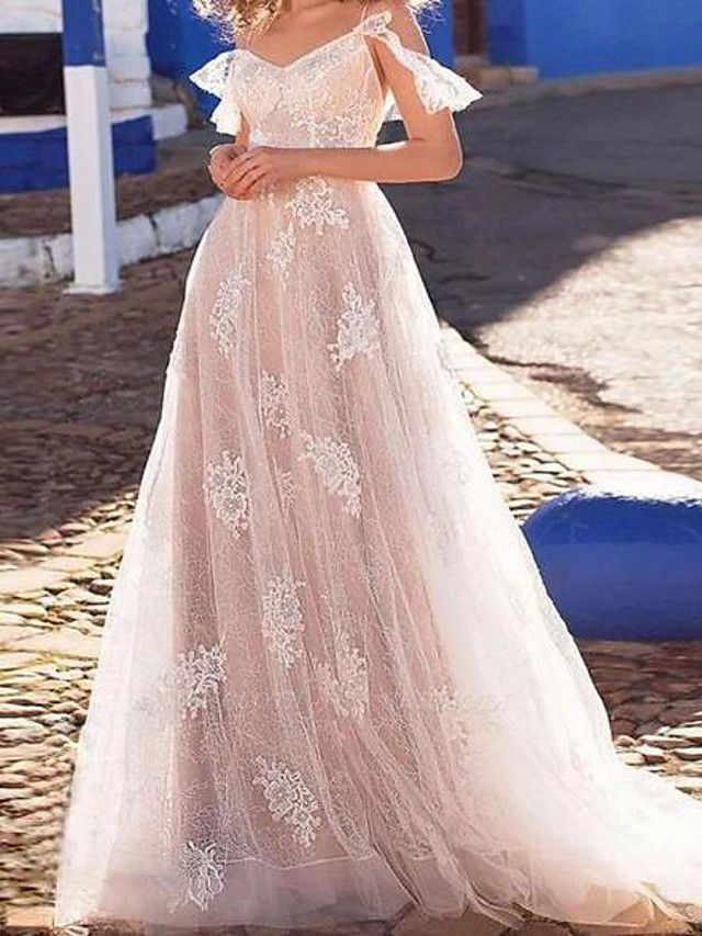A-Line Wedding Dresses Spaghetti Strap Floor Length Lace Tulle Short Sleeve Beach Sexy See-Through