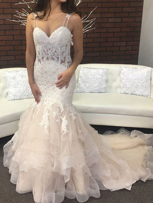 Mermaid \ Trumpet Spaghetti Strap Sweep \ Brush Train Lace Tulle Sleeveless Sexy Backless Wedding Dresses