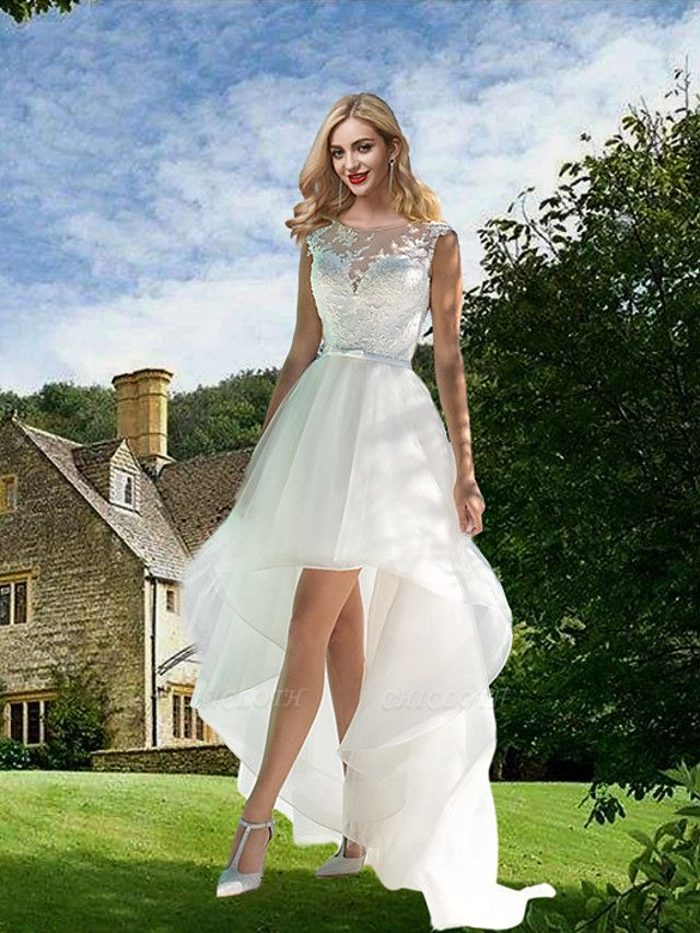 A-Line Wedding Dresses Jewel Neck Sweep \ Brush Train Asymmetrical Lace Tulle Sleeveless Sexy See-Through