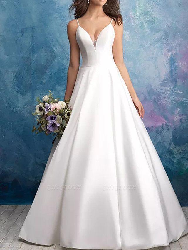 A-Line Wedding Dresses V Neck Sweep \ Brush Train Satin Sleeveless Vintage Plus Size